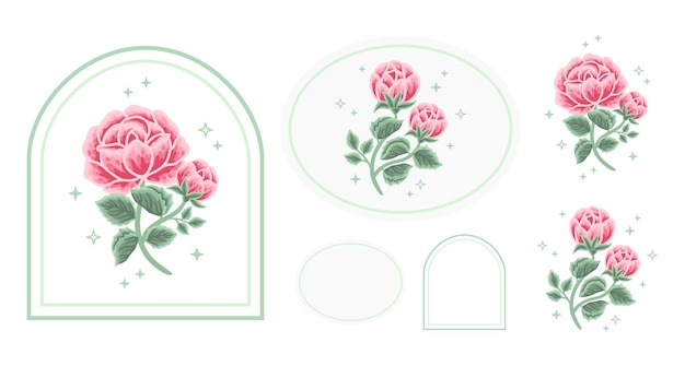 Set of vintage feminine beauty rose peony floral logo elements with frame for women
