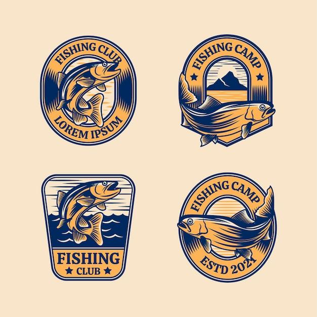 Set of vintage fishing badges