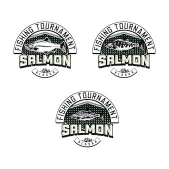 Set of vintage fishing club badge emblem