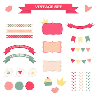 Set of vintage flat labels ribbons flags