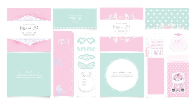 Set vintage floral wedding card in watercolor style.