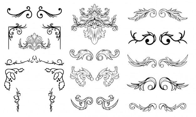 Set of vintage flourish  elements. design elements for poster, emblem,card.  illustration