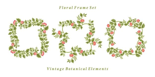 Set of vintage flower frame and wreath arrangements