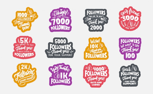 Set of vintage followers, thank you badges, templates and colorful stickers