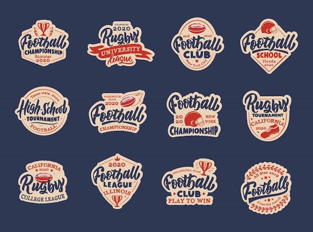 Set of vintage football stickers, patches. sport colorful badges, templates, emblems, stamps for football club, school, league