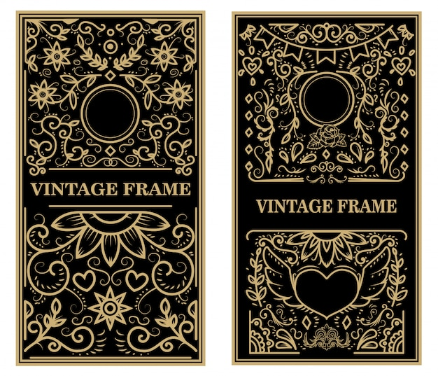 Set of vintage frames.  elements for poster, emblem, sign, card.  illustration