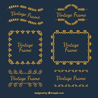 Set of vintage frames in golden style