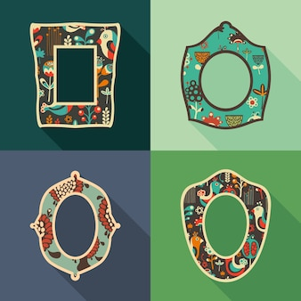 Set of vintage frames with colorful birds and flowers.