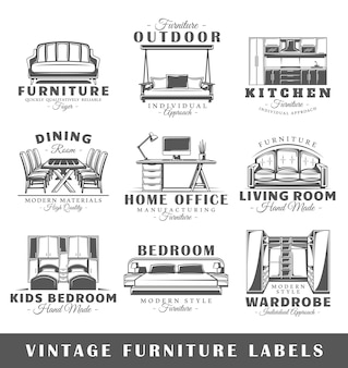 Set of vintage furniture labels