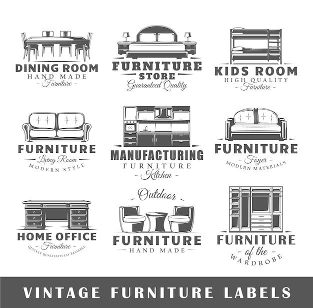 Set of vintage furniture logo
