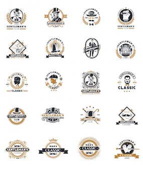 Set of vintage gentleman emblems, labels.