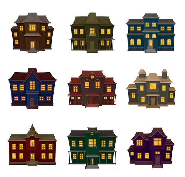 Set of vintage gloomy house of different shapes and colors