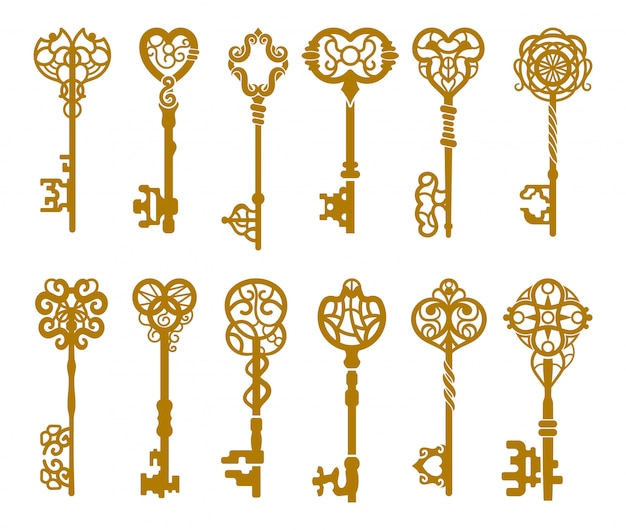Set of vintage gold key silhouette or icons