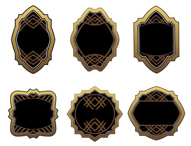 Set of vintage gold labels