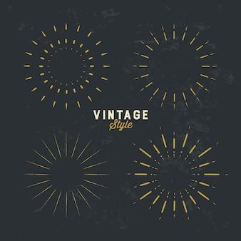 Set of vintage gold sunburst design element