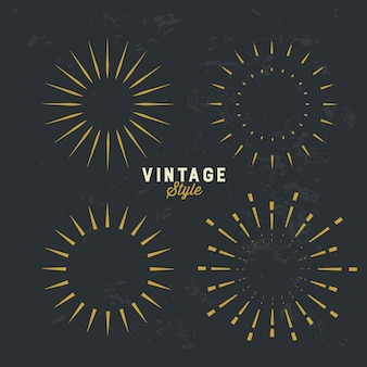 Set of vintage gold sunburst design element