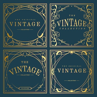 Set of vintage golden art nouveau badges on blue vector