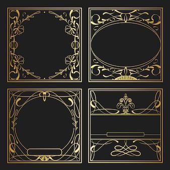 Set of vintage golden art nouveau elements vector