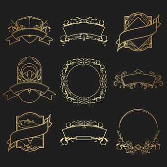 Set of vintage golden art nouveau elements vector
