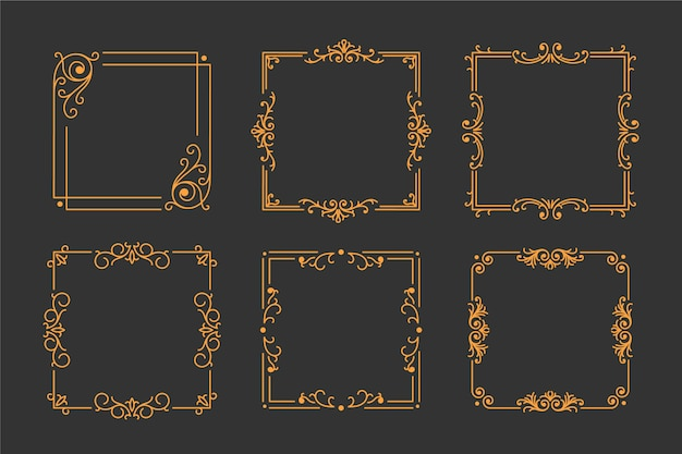 Set of vintage golden frame on black background