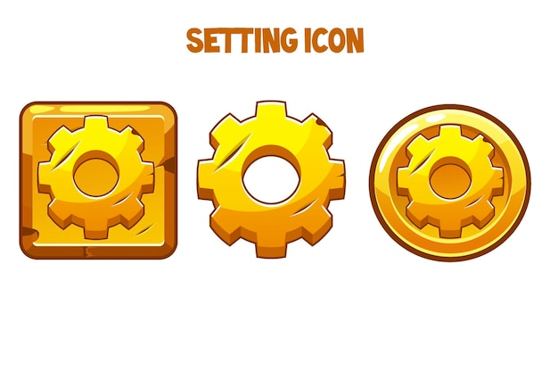 Set of vintage golden gear icons for a game