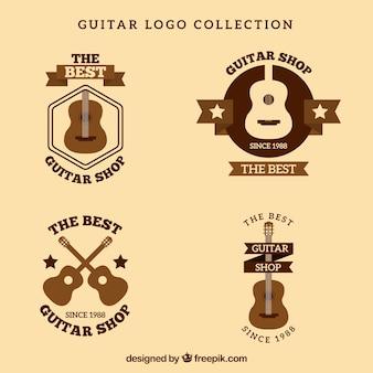 Set of vintage guitars logos