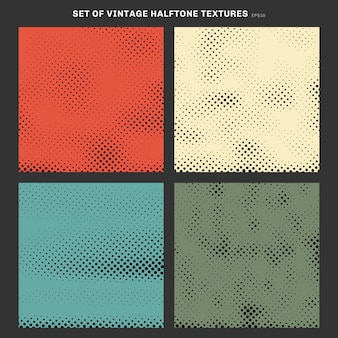 Set of vintage halftone texture effect background.