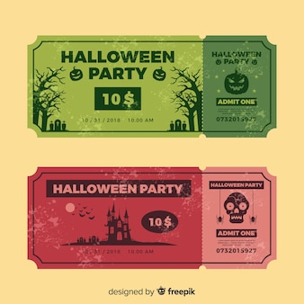 Set of vintage halloween party tickets
