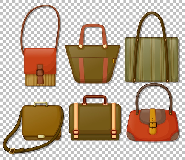 Set of vintage hand bags cartoon style isolated