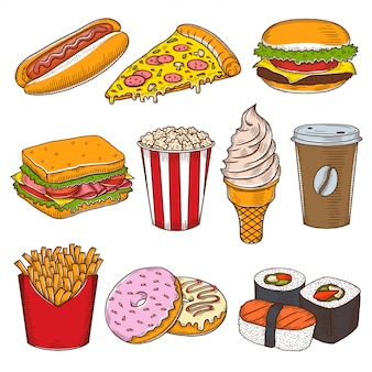 Set of vintage hand drawn fast food icons.
