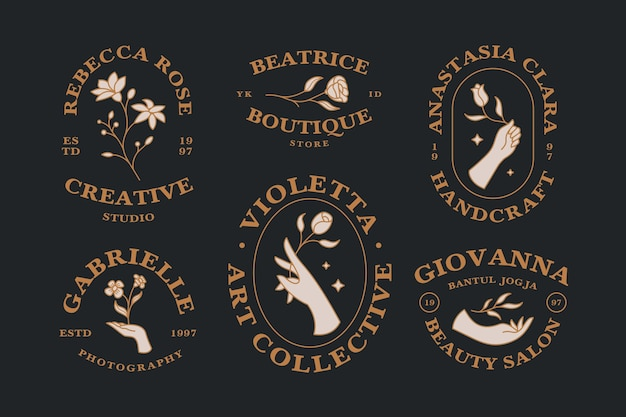 Set of vintage hand drawn feminine hand and flower logo collection editable text