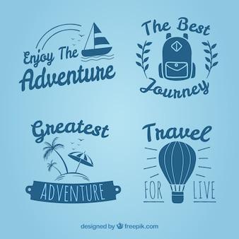 Set of vintage hand drawn travel badges