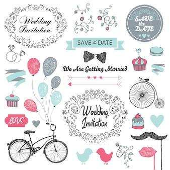 Set of  vintage, hand drawn wedding invitation design elements
