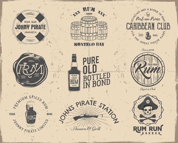 Set of vintage handcrafted pirate and rum emblems, labels, logos.