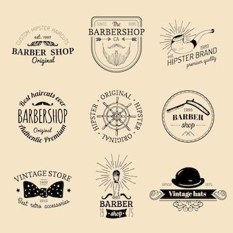 Set of vintage hipster barbershop logos.