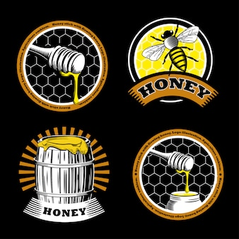 Set of vintage honey emblems.