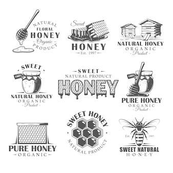 Set of vintage honey logos