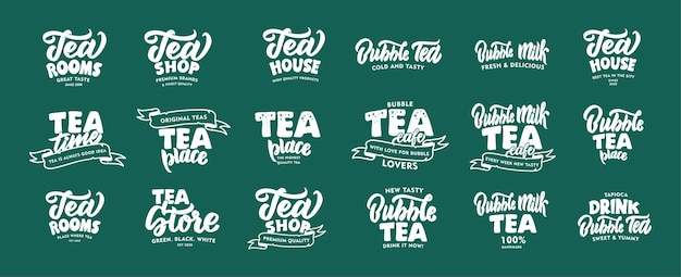 Set of vintage hot tea and bubble cold tea drink emblems and phrases.