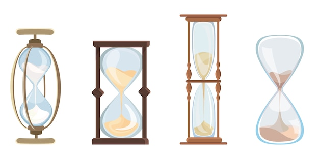 Set of vintage hourglass. clock with flowing sand in cartoon style.