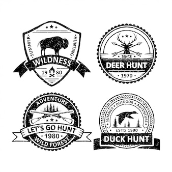 Set of vintage hunter sport badges
