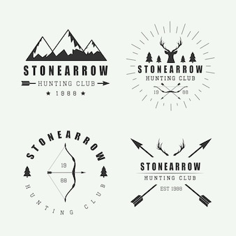 Set of vintage hunting labels, logos and badges