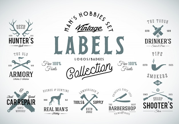 Set of vintage icons, labels or logo templates with retro typography for mens hobbies such as hunting, arms, dog breeding, car repair, etc.