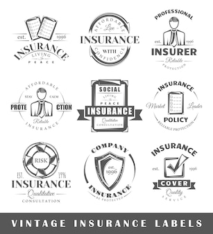 Set of vintage insurance labels