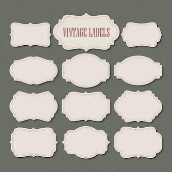 Set vintage labels and frame.