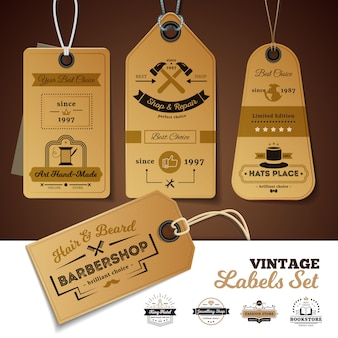 Set of vintage labels of shops with design of 3d cardboard tags