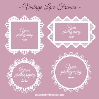 Set of vintage lace frames