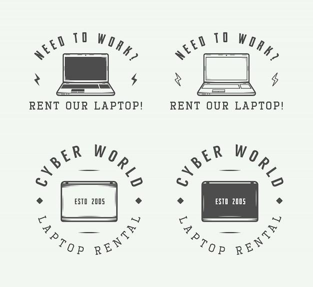 Set of vintage laptop logo, emblem, badge and design elements