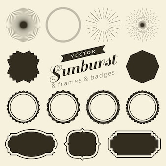 Set of vintage line frames and labels with sunburst
