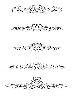 Set of vintage line with beautiful filigree, page dividers and design elements