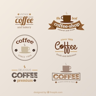 Set of vintage logos for coffee shops